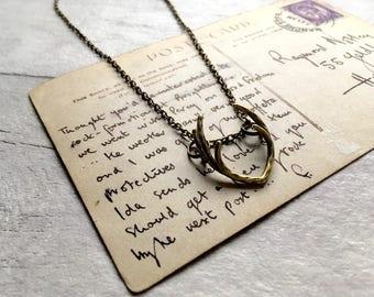 Deer antler necklace, jewellery antler necklace, winter necklace, christmas necklace, antler pendant, nature inspired, boho pendant reindeer