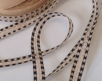 Antique Tape Ribbon, Black & White Silk Grosgrain Tape Vintage Polka Dots French Trim  / Millinery, Vintage Wedding and Period Costume 3 yar