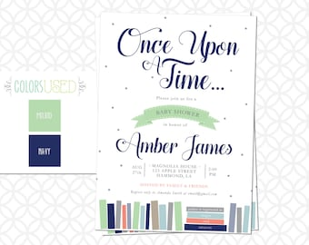 Printable Once Upon a Time, STORYBOOK Baby Shower Invitation, Baby Boy, Baby Girl, Gender Neutral, Customizable