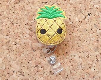 Badge Reels, GLITTER Gold Pineapple Badge Reel, Pineapple Lanyard, Badge Holders, ID Card Holders, Gift for Nurses, 653