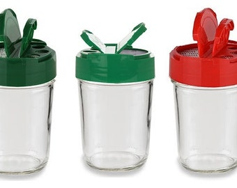 8 oz Mason Glass Jars with Spice Shaker Flap Dispenser Cap - In your color choice