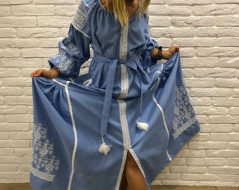 Bohemian Ukrainian Embroidered Dress Boho Dress, Blue Embroidered Dress, Bohemian Wedding Dress, Ukrainian Ethno, Ukrainian Dress Maxi Long