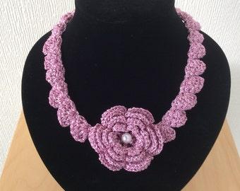 Crochet Flower Statement Necklace