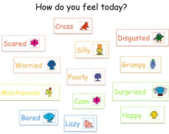 Emotions Chart,  Social Story, Visual Supports, Educational Resource, School resources. Mr Men Emotions for kids. Behaviour Chart,