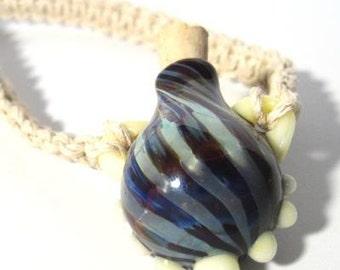 Handmade Lampwork Bottle on Phat Hemp Necklace