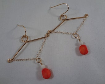 Red Coral Chandelier Earrings, Gold Filled(LVE84)