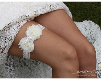 READY TO SHIP Bridal Garter Wedding Lace Garter with Brooches, Crystals, Pearls and Handmade Flowers
