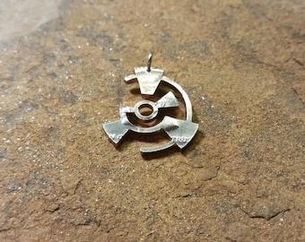 Mysterious Crop circle pendant crop circle pattern hand cut coin,  circles, curves, crop circle pendant, circles necklace