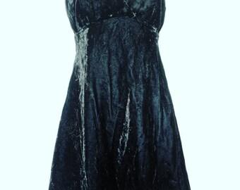 Retro 1990's Black Velvet Skater Dress