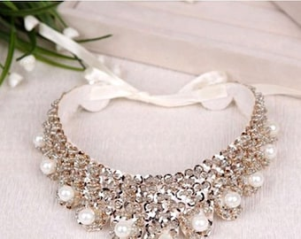 Vintage clothing  Pearl Beaded Lace Collar Necklace  #5