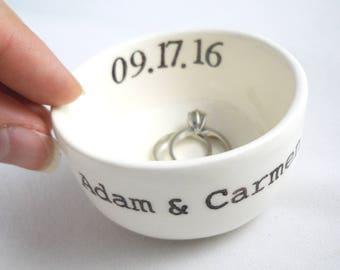 Custom Names Personalized Wedding Date - Ceramic Ring Holder - custom bridal shower gift, wedding gift for couple, engagement gift for her