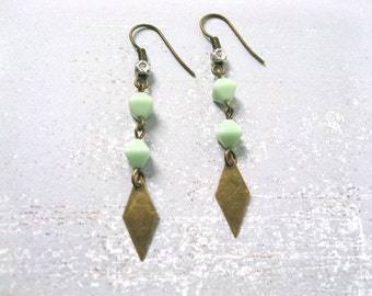 Cactus earrings - antiqued brass tone metal with silver flower stamped bead & mint green glass diamond shaped bead earrings
