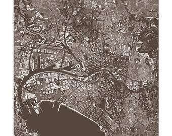 Melbourne Australia Cityscape Map Art / Victoria Australia Graphic Aerial Map / 8x10 / Choose your Color