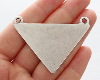 Large silver triangle pendant, triangle, flat metal pendant, geometric pendant, tribal pendant, necklace pendant, large silver connector