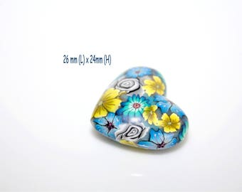 Pearl Heart in polymer clay - flower blue and yellow - 24 x 26mm