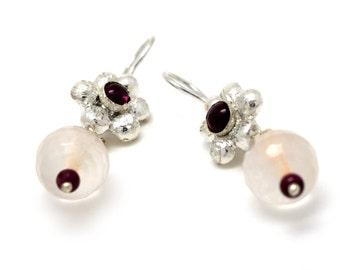 Rose quartz earrings - silver dangle earrings - garnet drop earrings - red garnet earrings - rose quartz jewelry - bridesmaids earrings