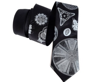 Diatoms necktie. Silkscreened men's tie, 100% silk. Botanical print. Haeckel illustrations and microscope scans. Choose from black and more.