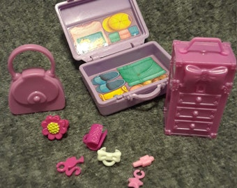 Lot of Barbie jewelry box, jewelry and travel case