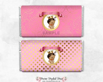 Tutu Cute Pink & Gold Candy Chocolate Bar Wrappers Full Size | Medium Skin Tone Vintage Baby Girl | Digital Instant Download