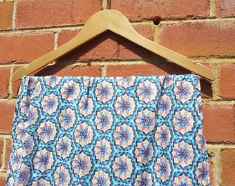 Japanese Cotton Lawn Handmade Scarf  Wrap Shawl in Blue and Pink