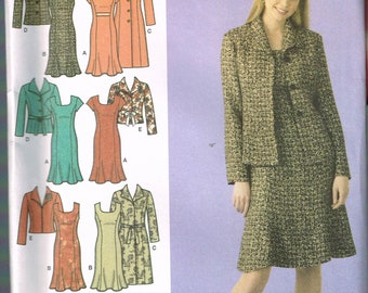 Size 20-28 Misses' Easy Plus Size Sewing Pattern - Scoop Neck Princess Seam Dress Flared Skirt Pattern - Jacket Pattern - Simplicity 4014