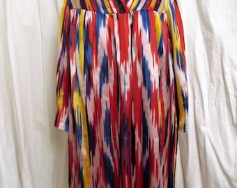 Vintage 1980's Uzbek Hand Woven  Ikat Dress Vivid Colors