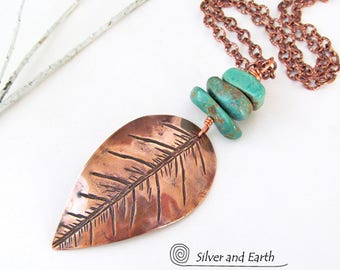 Copper Feather Necklace, Turquoise Pendant, Handmade Metalwork Jewelry, Bohemian Tribal Southwestern Necklace, Natural Turquoise Jewelry