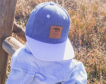Baby Snapback Blue French Terry and White Brim