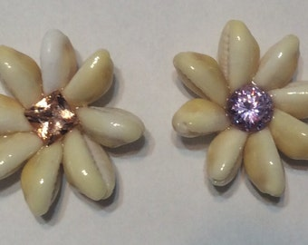 Cowry Cowrie Monita Money Cowry Shell rings ,Flowers, with gemstones,centers, Magnets,