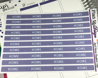 Home Header Stickers (40) made for 2017-18 Erin Condren Life Planner and Happy Planner
