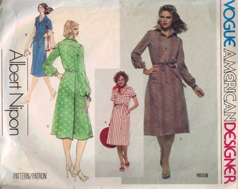 1970s Vintage Sewing Pattern Vogue 1658 American Designer Albert Nipon Shirt Dress Size 14 Bust 36 70s  99