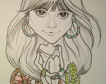 Linda Ronstadt Rock Portrait Rock and Roll Caricature Music Art by Leslie Mehl