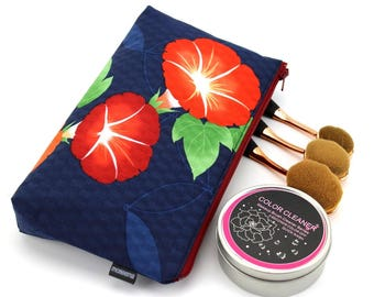 small pouch, zip pouch, small zipper pouch, lipstick pouch,Morning Glory Navy