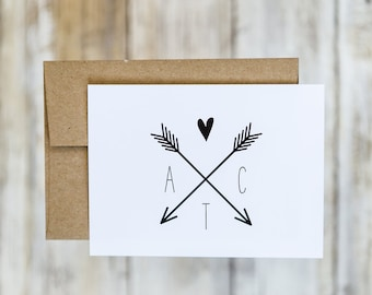 Arrow and Initial Wedding Thank You Cards with Envelopes / Initials and Arrow Logo / Chic / Rustic / Classic Stationery