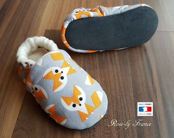 Organic Fox leather and cotton baby booties