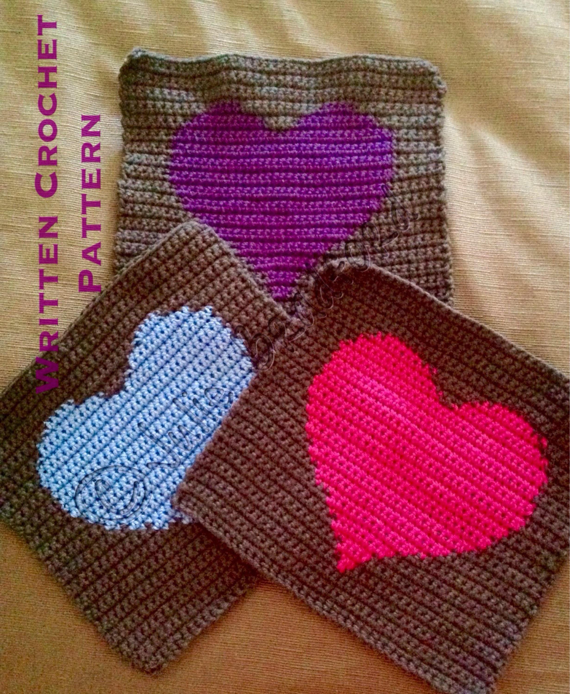 Crochet Heart Block/Square, Afghan Heart Written Pattern, Blanket ...