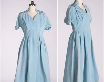 50's Powder Blue Designer Fit and Flare Vintage Dress New Look