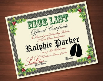 Custom Printable Nice List Certificate from Santa Claus - Custom with your Childs Name - Digital PDF File