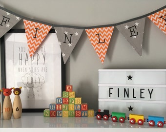 Grey and Orange Personalised Bunting