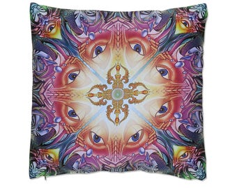 Trippy pillow cover 'Dorje Power'. Trippy home decor. 20 inch throw pillow cover. Psychedelic cushion cover, scatter cushion, visionary art.
