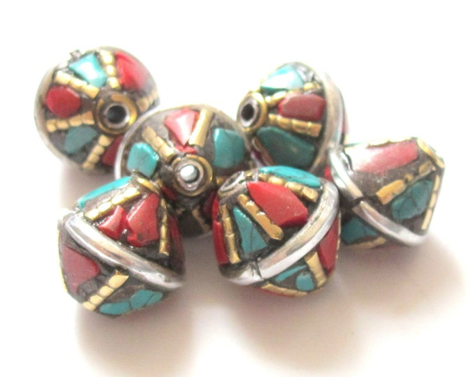 Nepalese brass bead with turquoise coral inlay - 2 beads - BD234