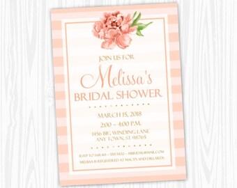 Bridal Shower Invitation, Peach Stripe Pink Invitation, CUSTOM 4x6 or 5x7 size, printable, peach floral, Wedding Shower Invite