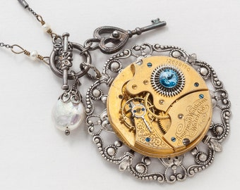 Steampunk Necklace Vintage Waltham Gold Pocket Watch Movement on Silver Filigree with Blue Crystal, Pearl & Skeleton Key Pendant Jewelry