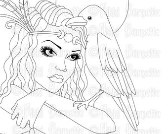 Digital Stamp - Printable Coloring Page - Witch Stamp - Adult Coloring Page - Portrait of Morrigane - by Nikki Burnette - PERSONAL USE