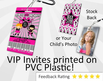 Rockstar Girl Invitation PLASTIC Rockstar Girl, Rockstar Girl Invitation, Birthday Invitation, Birthday Invite, Rockstar Girl SKU-INV226