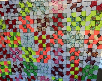 Early 1900's hand stitched quilt top unfinished needs completion padding and back need to be added