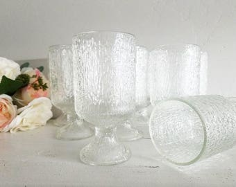 Set of 9 Indiana Glass Crystal Ice Goblets