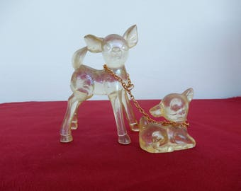Lucite plastic deer and baby bambi fawn chain made in hong kong