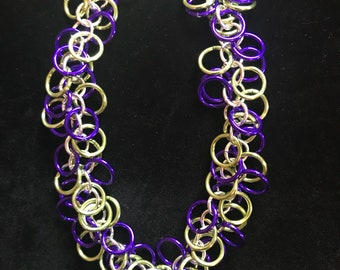 Purple/Green/Silver Shaggy Loops Chainmaille Bracelet