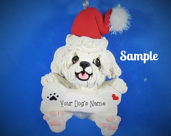 Maltese dog Santa Bone Christmas Holidays Ornament by Sally's Bits of Clay Personalized Free with dog's name